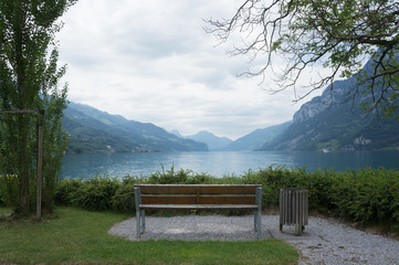 Bench next to lake
