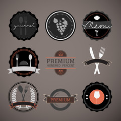 Restaurant labels set vector, Eps 10