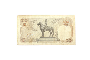 THAILAND Ten Baht Banknote which is not currently in use
