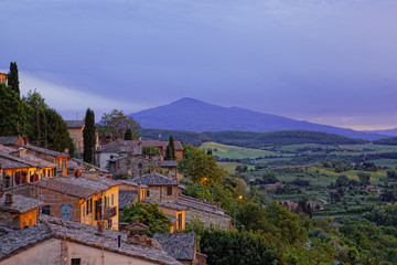 Ancient houses in Pienza in twilight , Tuscany, Italy