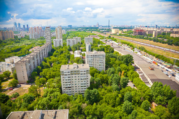 cityscape from a height, residential area in the park