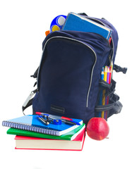 school backpack with stationery