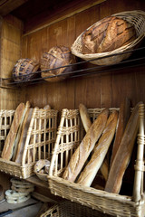 Various breads in a bakery