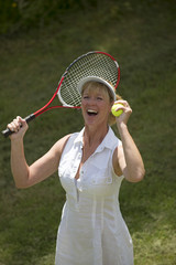 Jubilant female tennis player
