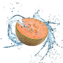Fresh cantaloupe melon with water splash