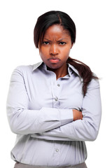 Young african businesswoman with angry expression