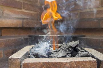 Barbacoa, fuego y humo
