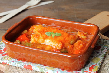 Cod and prawns in vegetable sauce