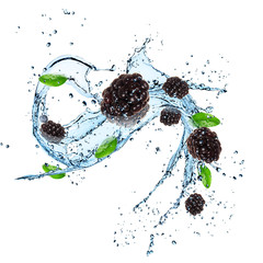 Fresh berries with water splash