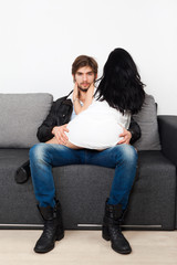 couple sex couch flirting, man sexy playful woman