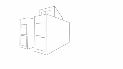 Sketch of house plan side view animation