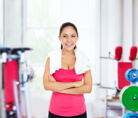 Woman gym smile, sport exercising girl working out