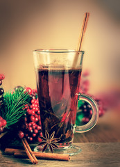 Mulled wine from wine and cinnamon, a Christmas