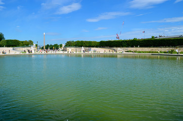 The octagonal lake in the Tuileries Garden in Paris