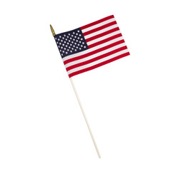Single American Flag on White Background