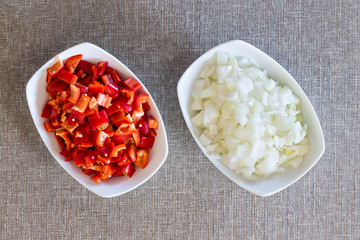 Prepared diced fresh onions and tomato