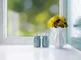 Ceramic tableware on the worktop