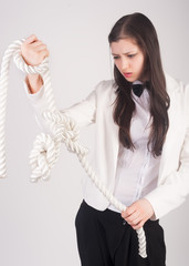 "business woman with knot of ""problem"""