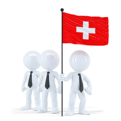 Business team holding flag of Swiss. Isolated. Clipping path