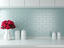 "Постер, картина, фотообои ""White kitchen design."""