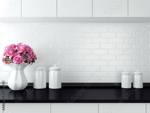 Fotobehang Koken White kitchen design.