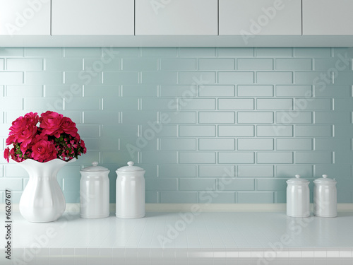 Tuinposter Koken White kitchen design.