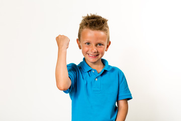 Boy celebrating success