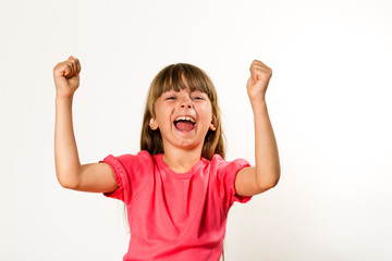 Girl celebrating success