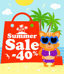 Summer sale poster with cat vector