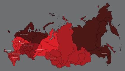 Карта России с федеральными округами