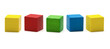 toy blocks, multicolor wooden game cube, blank boxes isolated - 66269602