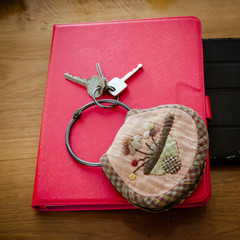 Bunch patchwork for Keys chain and red tablet cover