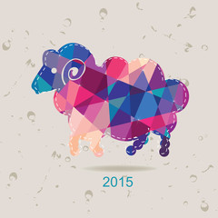 2015 new year card with sheep made of triangles
