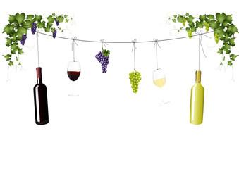 Weinflaschen an der Leine