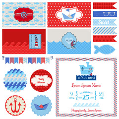 Baby Shower Nautical Set - for Party Decoration, Scrapbook