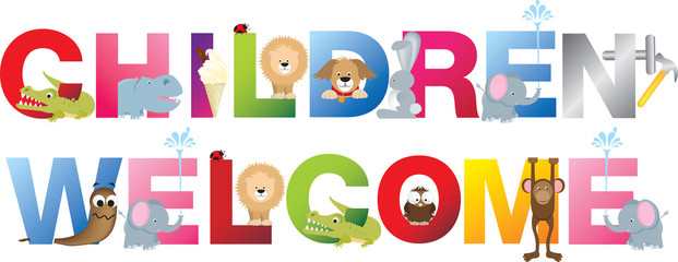 children welcome sign in childrens alphabet typeface