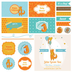 Baby Shower Cute Foxes Set - for Party Decoration, Scrapbook