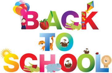 Back to school word in childrens alphabet typeface