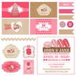 Macaroon and Desserts Party Set - for Scrapbook,  Design, Party