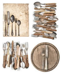 kitchen board, aged paper, antique kitchen utensils and vintage