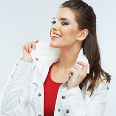 Smiling young woman white background isolated.