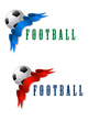 Football or soccer ball symbol with blue and red ribbon
