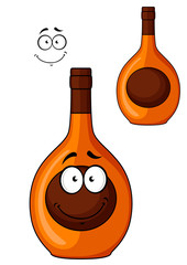 Brown liqueur bottle with a smiling face