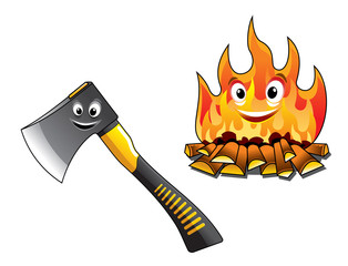 Cartoon axe with a burning fire
