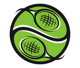 Tennis ball with rackets icon