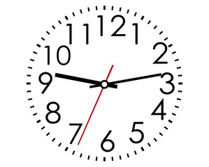 Round clock face with Arabic numerals