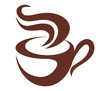 Brown and white coffee or tea icon
