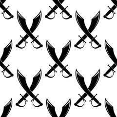 Crossed swords or cutlass seamless pattern