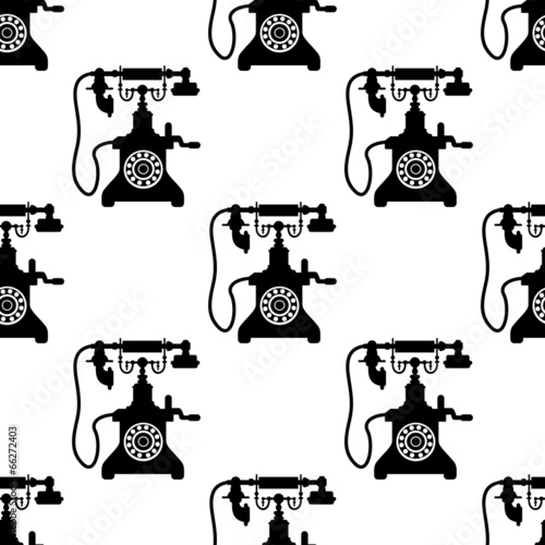 Vintage telephone seamless pattern - 66272403