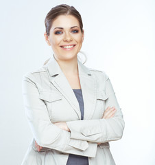 Toothy smiling business woman isolated on whte background.